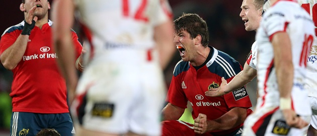 Donncha O'Callaghan celebrates at the final whistle 28/11/2014