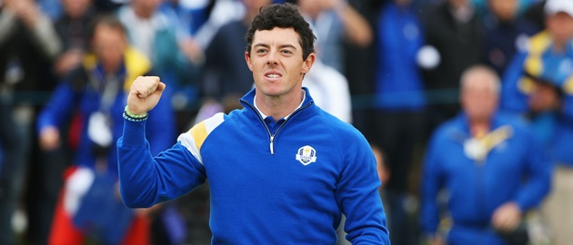 AUCHTERARDER, SCOTLAND - SEPTEMBER 28:  Rory McIlroy of Europe celebrates victory on the 14th hole during the Singles Matches of the 2014 Ryder Cup on the PGA Centenary course at the Gleneagles Hotel on September 28, 2014 in Auchterarder, Scotland.  (Photo by Ross Kinnaird/Getty Images)