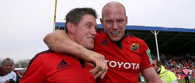 Ronan O'Gara and Paul O'Connell celebrate 7/4/2013