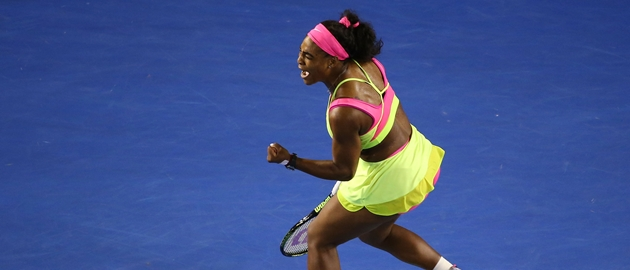 MELBOURNE, AUSTRALIA - JANUARY 31:  Serena Williams of the United States celebrates winning a point in her women's final match against Maria Sharapova of Russia during day 13 of the 2015 Australian Open at Melbourne Park on January 31, 2015 in Melbourne, Australia.  (Photo by Quinn Rooney/Getty Images)