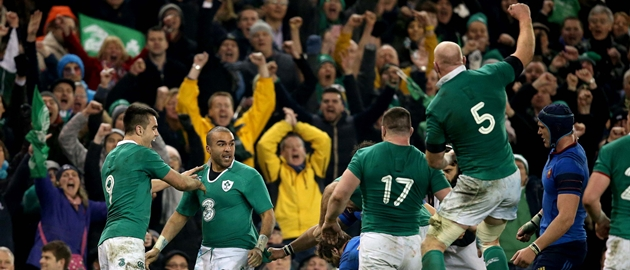 Conor Murray, Simon Zebo and Paul O'Connell celebrate at the final whistle 14/2/2015