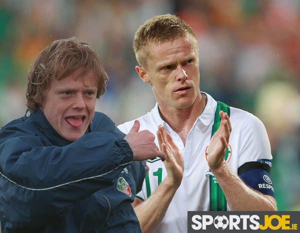 A dejected Damien Duff after the game 18/6/2012