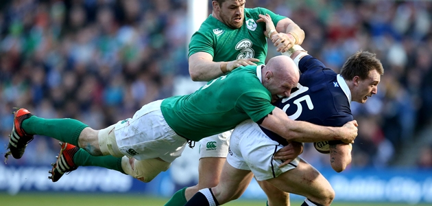 Paul O'Connell and Cian Healy tackle Stuart Hogg 21/3/2015