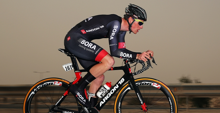 DOHA, QATAR - FEBRUARY 10:  Sam Bennett of Ireland and Bora-Argon 18 in action on stage three of the 2015 Tour of Qatar, a 10.9km individual time trial at the Lusail motor racing circuit, on February 10, 2015 in Doha, Qatar.  (Photo by Bryn Lennon/Getty Images)