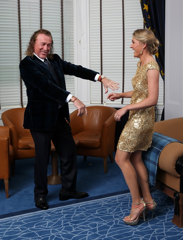AUCHTERARDER, SCOTLAND - SEPTEMBER 24:  Europe team vice captain Miguel Angel Jimenez and his wife Suzanne Jimenez pose for a photograph at the Gleneagles Hotel before leaving for the Ryder Cup Team Gala Dinner on September 24, 2014 in Auchterarder, Scotland.  (Photo by Ross Kinnaird/Getty Images)