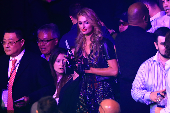 LAS VEGAS, NV - MAY 02:  Paris Hilton attends the welterweight unification championship bout between Floyd Mayweather Jr. and Manny Pacquiao on May 2, 2015 at MGM Grand Garden Arena in Las Vegas, Nevada.  (Photo by Jamie Squire/Getty Images)