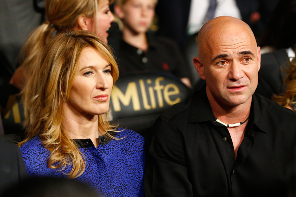 LAS VEGAS, NV - MAY 02:  Andre Agassi and wife Steffi Graf watches the Leo Santa Cruz against Jose Cayetano featherweight bout on May 2, 2015 at MGM Grand Garden Arena in Las Vegas, Nevada.  (Photo by Al Bello/Getty Images)