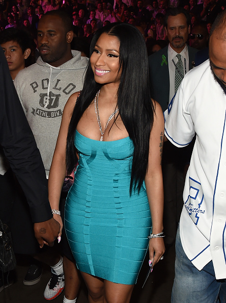 """LAS VEGAS, NV - MAY 02:  Singer Nicki Minaj walks ringside At """"Mayweather VS Pacquiao"""" presented by SHOWTIME PPV And HBO PPV at MGM Grand Garden Arena on May 2, 2015 in Las Vegas, Nevada.  (Photo by Ethan Miller/Getty Images for SHOWTIME)"""
