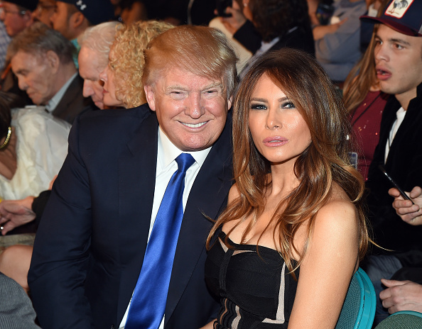 """LAS VEGAS, NV - MAY 02:  Donald Trump (L) and model Melania Trump pose ringside At """"Mayweather VS Pacquiao"""" presented by SHOWTIME PPV And HBO PPV at MGM Grand Garden Arena on May 2, 2015 in Las Vegas, Nevada.  (Photo by Ethan Miller/Getty Images for SHOWTIME)"""