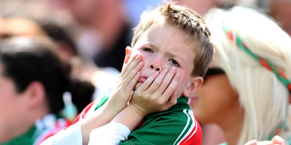 Connacht GAA Football Senior Championship Final, MacHale Park, Castlebar, Co. Mayo 13/7/2014  Mayo vs Galway A young Mayo supporter reacts after Mayo miss a chance Mandatory Credit ©INPHO/Donall Farmer