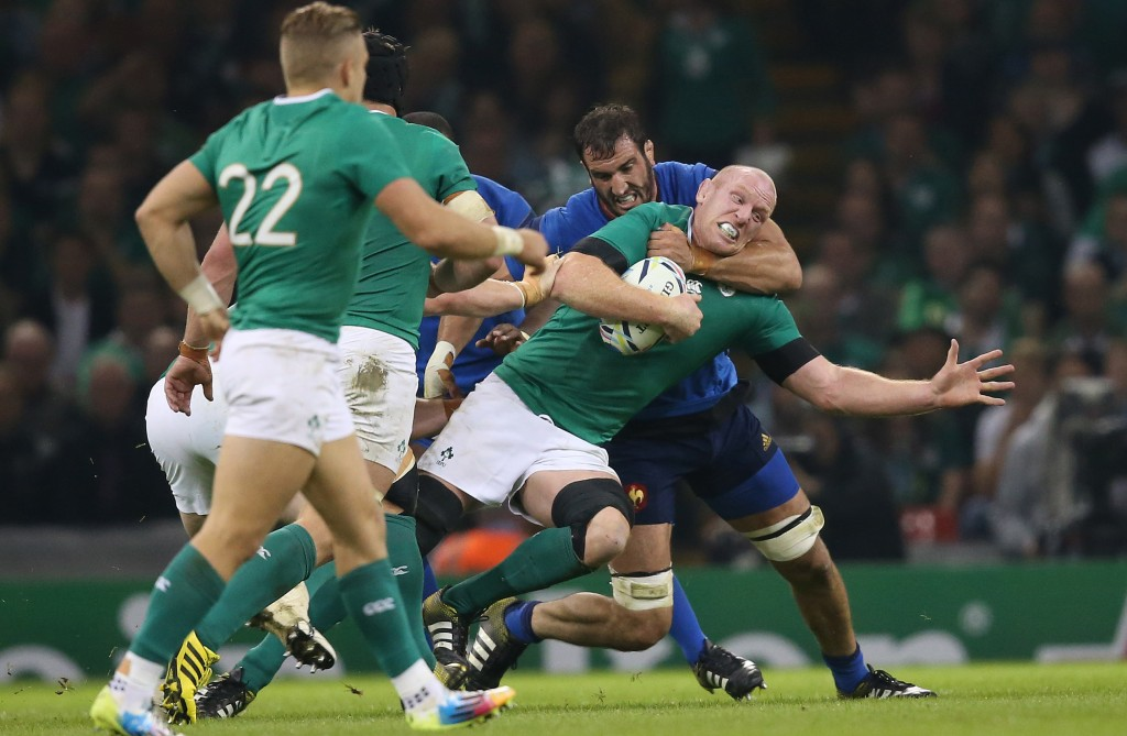 2015 Rugby World Cup Group D, Millennium Stadium, Cardiff, Wales 11/10/2015 Ireland vs France IrelandÕs Paul O'Connell is tackled by FranceÕs Yoann Maestri Mandatory Credit ©INPHO/Billy Stickland