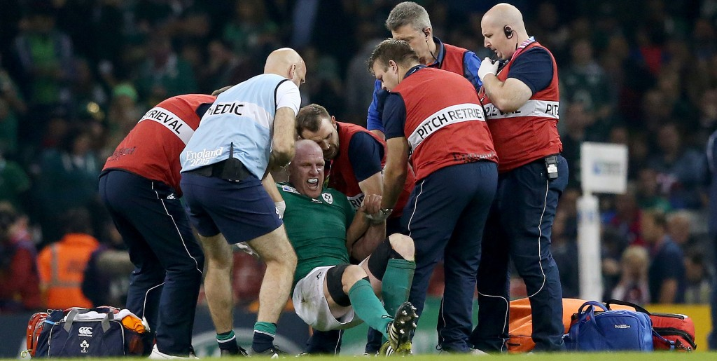 2015 Rugby World Cup Group D, Millennium Stadium, Cardiff, Wales 11/10/2015 Ireland vs France IrelandÕs Paul O'Connell tries to get to his feet before being stretchered off the field Mandatory Credit ©INPHO/James Crombie