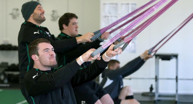 Ireland Rugby Squad Training, Carton House, Maynooth, Co. Kildare 19/2/2013 Peter O'Mahony warms up in the gym Mandatory Credit ©INPHO/Dan Sheridan