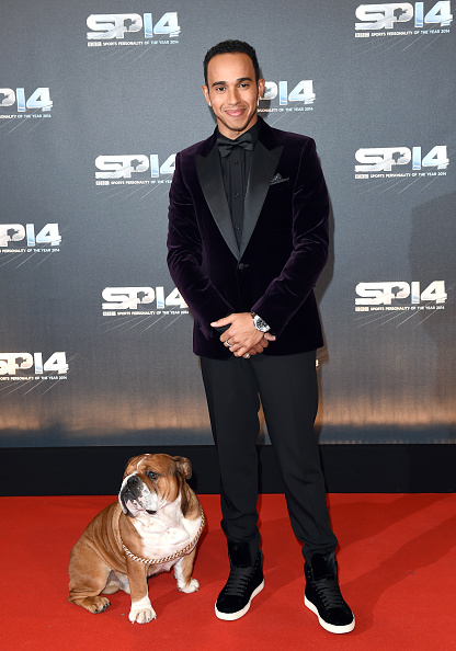 GLASGOW, SCOTLAND - DECEMBER 14:  Lewis Hamilton and his dog Roscoe attend the BBC Sports Personality of the Year awards at The Hydro on December 14, 2014 in Glasgow, Scotland.  (Photo by Karwai Tang/Getty Images)