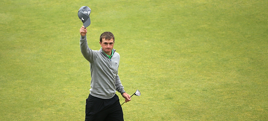 ST ANDREWS, SCOTLAND - JULY 20:  Amateur Paul Dunne of Ireland waves to the crowd on 18th green during the final round of the 144th Open Championship at The Old Course on July 20, 2015 in St Andrews, Scotland.  (Photo by Jan Kruger/Getty Images)