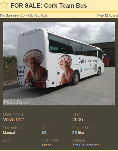 029172e3fe Cork team bus goes up for sale on Done Deal following All-Ireland ...