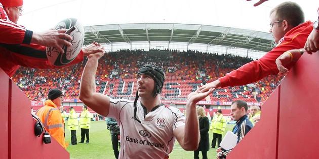 Heineken Cup Quarter-Final 8/4/2012 Ulster Stephen Ferris celebrates after the game Mandatory Credit ©INPHO/Presseye/Darren Kidd *** Local Caption ***