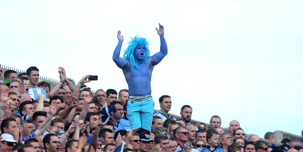GAA Football All Ireland Senior Championship Semi-Final 31/8/2014 Dublin A Dublin supporter on Hill 16 Mandatory Credit ©INPHO/Donall Farmer