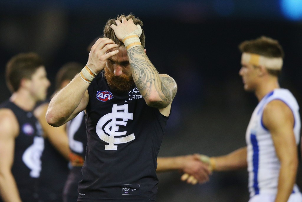 MELBOURNE, AUSTRALIA - AUGUST 01: Zach Tuohy of the Blues reacts after defeat during the round 18 AFL match between the Carlton Blues and the North Melbourne Kangaroos at Etihad Stadium on August 1, 2015 in Melbourne, Australia. (Photo by Michael Dodge/Getty Images)