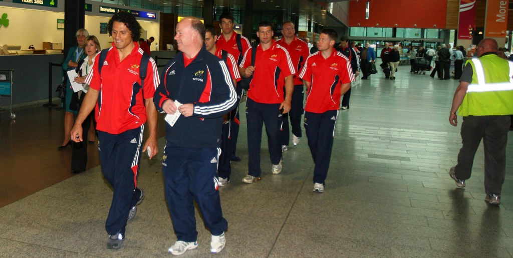 Munster Team at Shannon Airport. 23/5/2008 Doug Howlett and coach Declan Kidney lead the team through Shannon Airport ahead of their departure to Cardiff Mandatory Credit ©INPHO/Cathal Noonan *** Local Caption *** CN1_2111