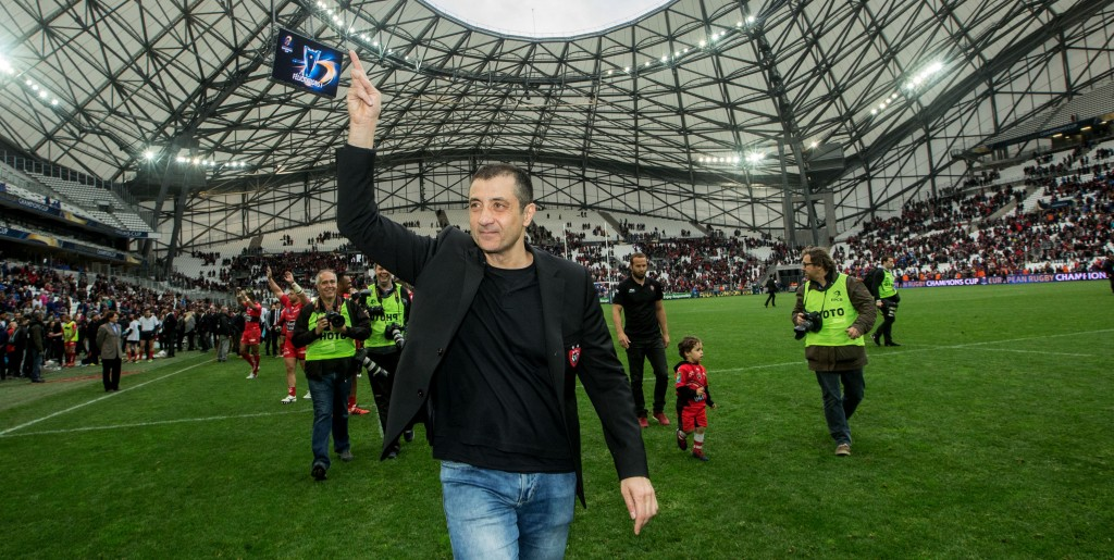 European Rugby Champions Cup Semi-Final, Stade VŽlodrome, Marseille, France 19/4/2015 RC Toulon vs Leinster Toulon owner Mourad Boudjellal celebrates Mandatory Credit ©INPHO/James Crombie