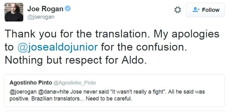Joe Rogan apologises to Jose Aldo | SportsJOE.ie