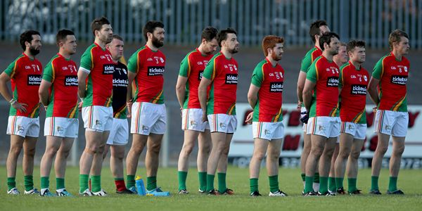GAA Football All Ireland Senior Championship Round 1A, Glennon Brothers Pearse Park, Longford 20/6/2015 Longford vs Carlow The Carlow team stand for The National Anthem Mandatory Credit ©INPHO/Donall Farmer