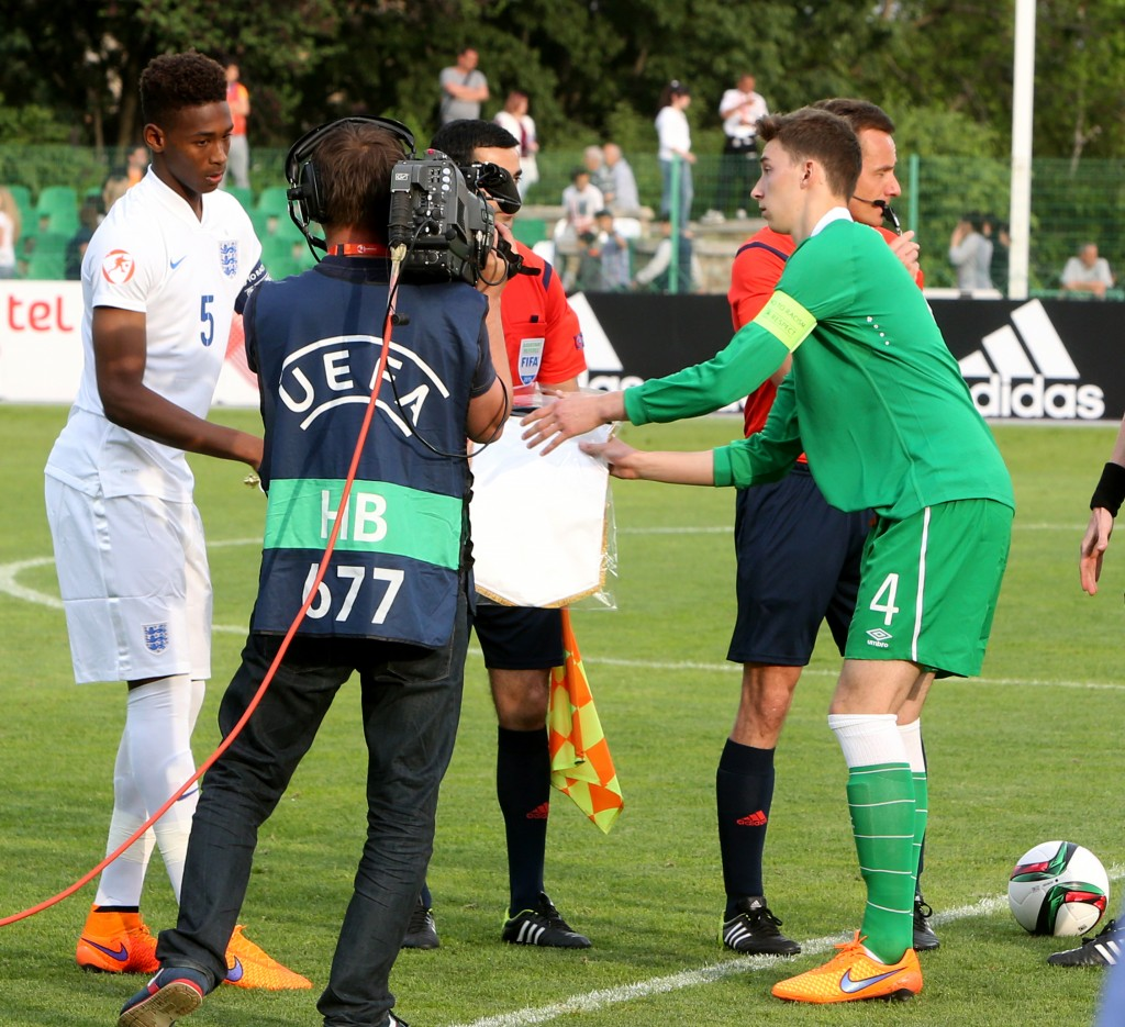 Captains Reece Oxford and Conor Masterson before the game 13/5/2015