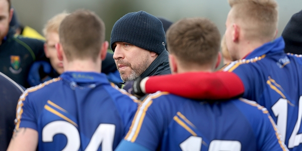 Bord na Mona O'Byrne Cup Round 3, Gorey, Co. Wexford 11/1/2015 Wexford vs Wicklow Wicklow manager Johnny Magee talks to his players before the game Mandatory Credit ©INPHO/Donall Farmer