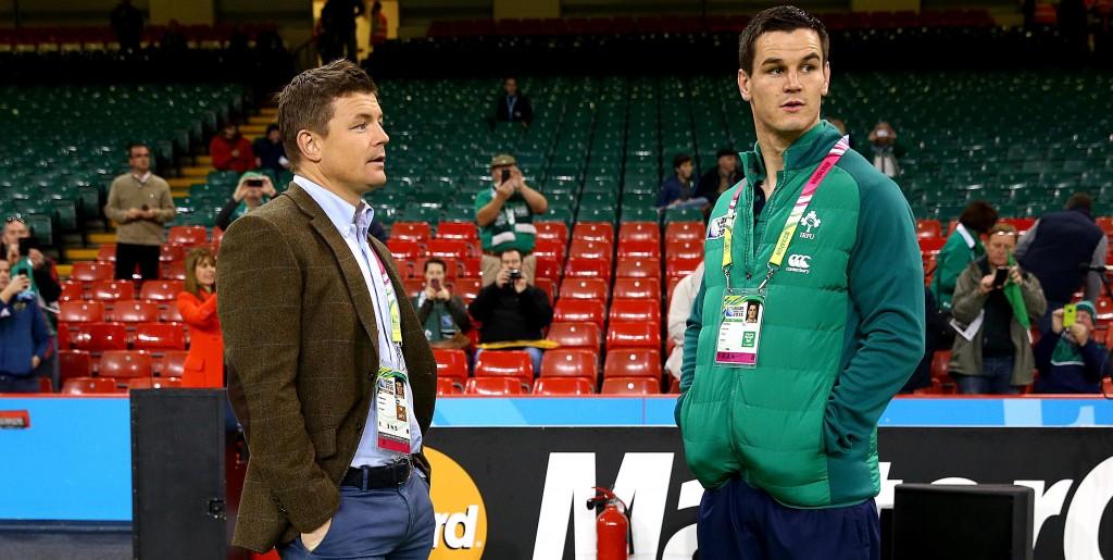 2015 Rugby World Cup Quarter-Final, Millenium Stadium, Cardiff, Wales 18/10/2015 Ireland vs Argentina Ireland's Brian O'Driscoll with Jonathan Sexton  Mandatory Credit ©INPHO/Dan Sheridan