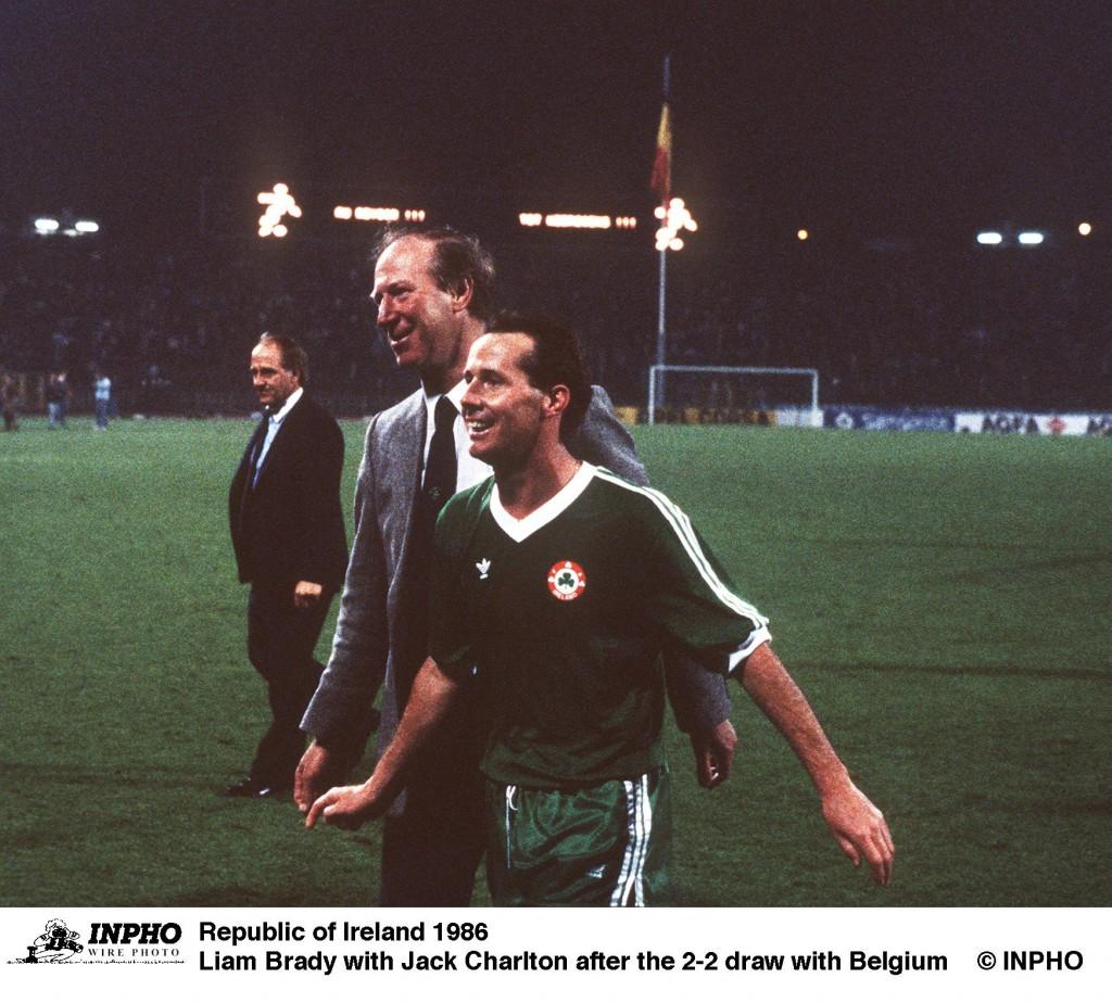 Liam Brady with Jack Charlton 1986