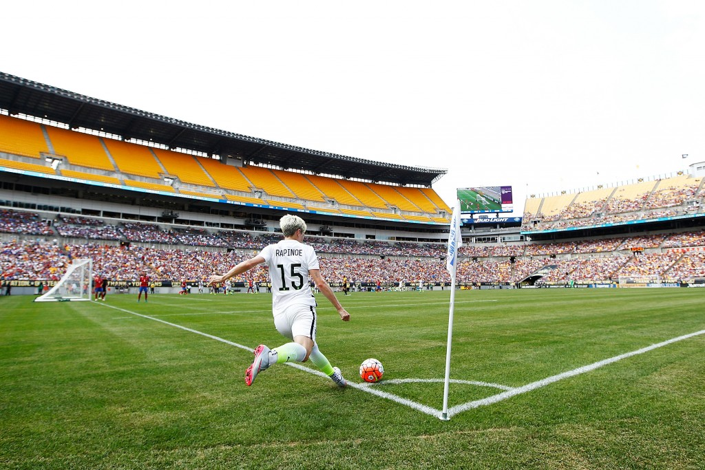 PITTSBURGH, PA - AUGUST 16: Megan Rapinoe #15 of the United States in action against Costa Rica during the match at Heinz Field on August 16, 2015 in Pittsburgh, Pennsylvania. (Photo by Jared Wickerham/Getty Images)