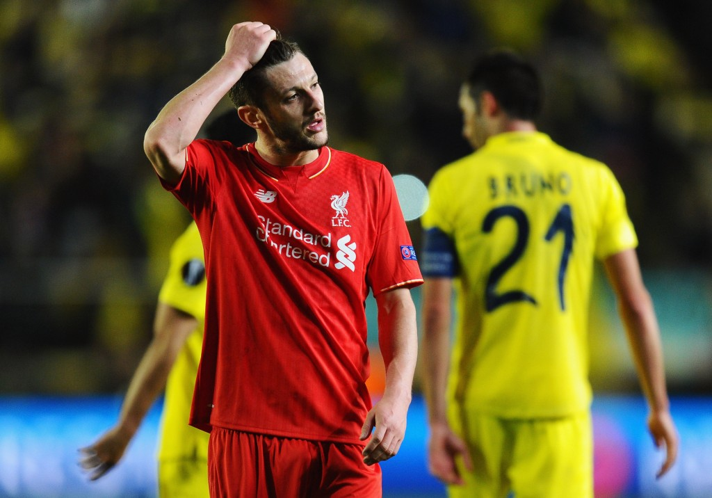 VILLARREAL, SPAIN - APRIL 28:  Adam Lallana of Liverpool reacts after defeat in the UEFA Europa League semi final first leg match between Villarreal CF and Liverpool at Estadio El Madrigal on April 28, 2016 in Villarreal, Spain.  (Photo by David Ramos/Getty Images)
