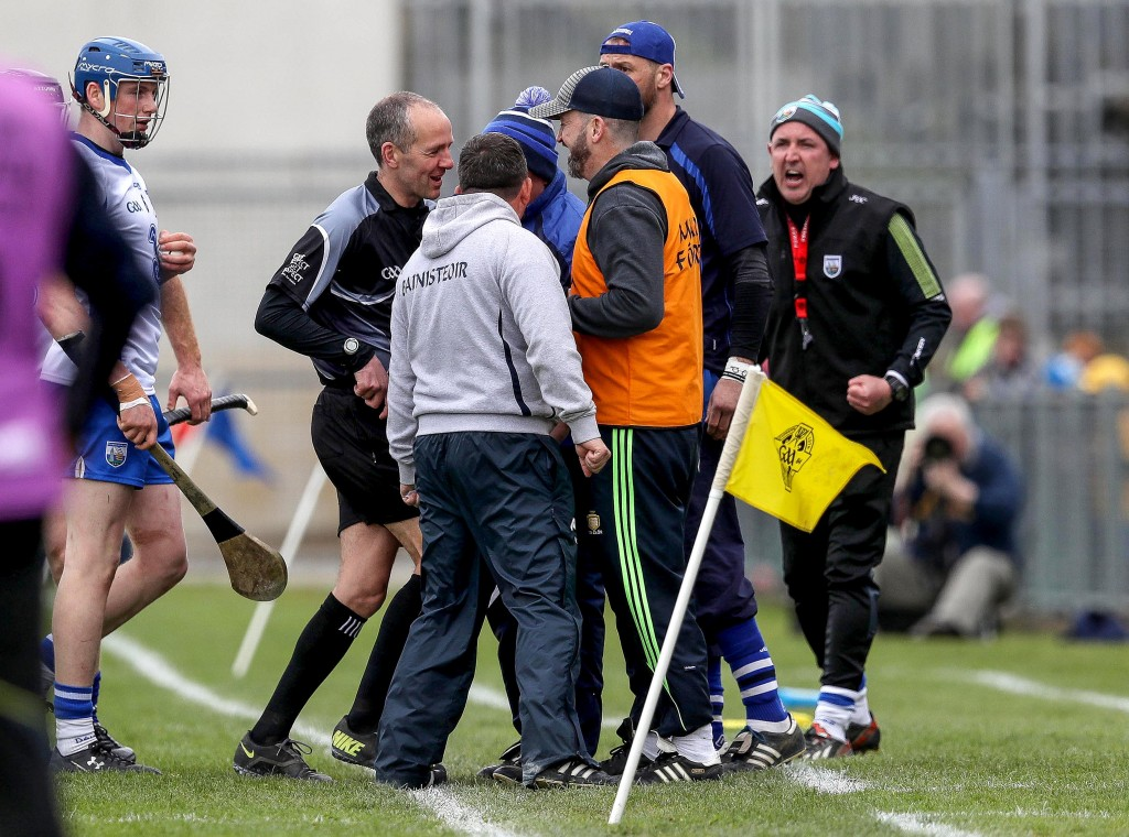 Allianz Hurling League Division 1 Final, Semple Stadium, Thurles, Co. Tipperary 1/5/2016 Clare vs Waterford Clare Manager Davy Fitzgerald and Waterford Manager Derek McGrath clash on the sideline Mandatory Credit ©INPHO/Ryan Byrne