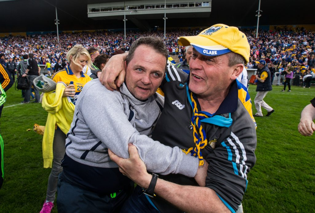 Allianz Hurling League Division 1 Final Replay, Semple Stadium, Thurles, Tipperary 8/5/2016 Clare vs Waterford Clare supporters congratulate manager Davy Fitzgerald after the final whistle Mandatory Credit ©INPHO/Cathal Noonan