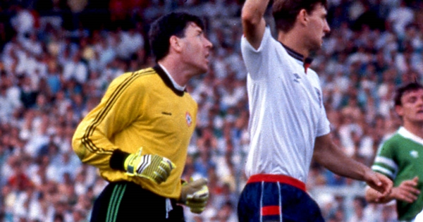 Mark Wright and Tony Adams appeal as goalkeeper Packie Bonner 12/6/1988