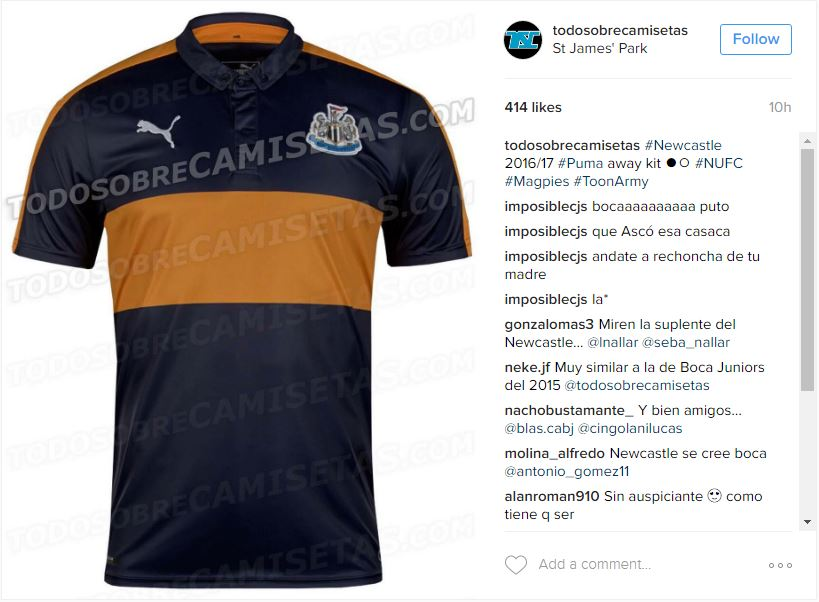 408a4dc20 Leaked Newcastle United away kit looks remarkably like Boca Juniors ...