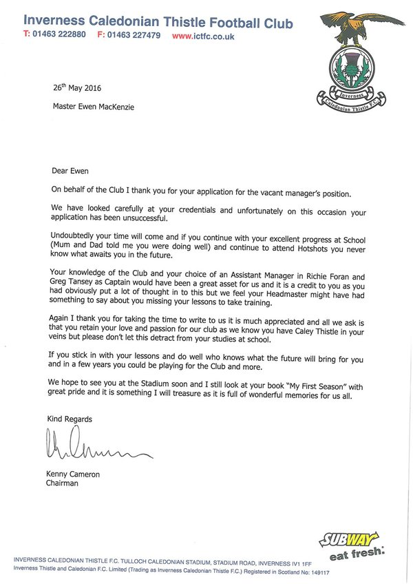 Inverness reply
