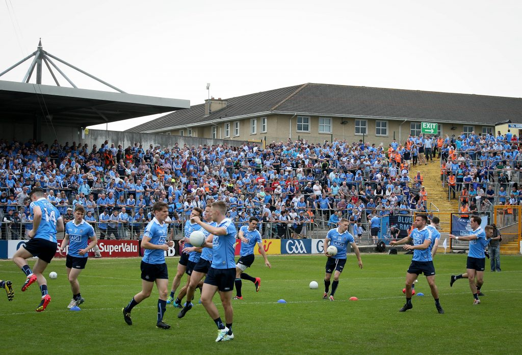Leinster GAA Football Senior Championship Quarter-Final, Nowlan Park, Kilkenny 4/6/2016 Dublin vs Laois Dublin warm up in front their fans Mandatory Credit ©INPHO/Ryan Byrne