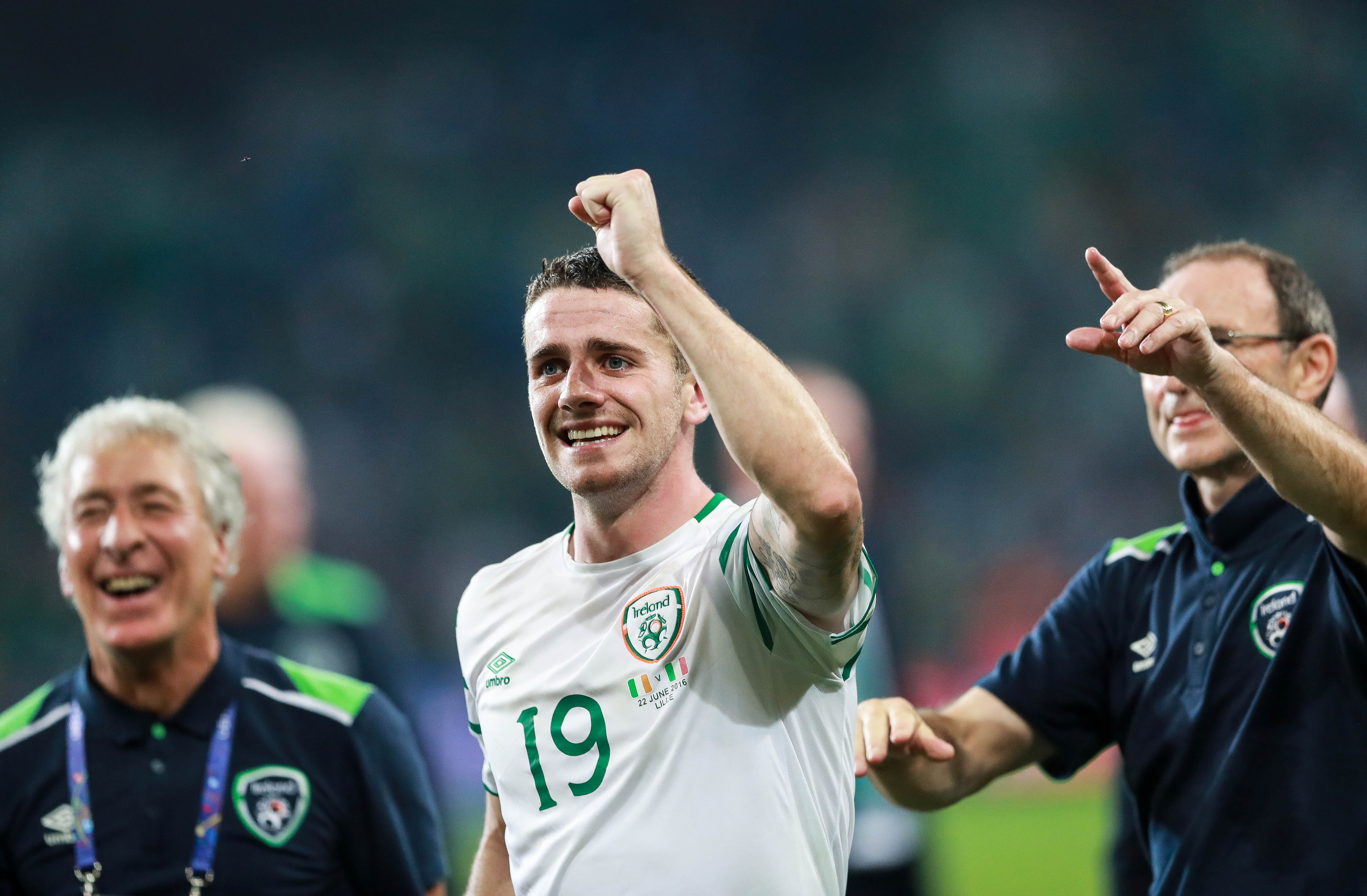 Robbie Brady celebrates at the final whistle 22/6/2016