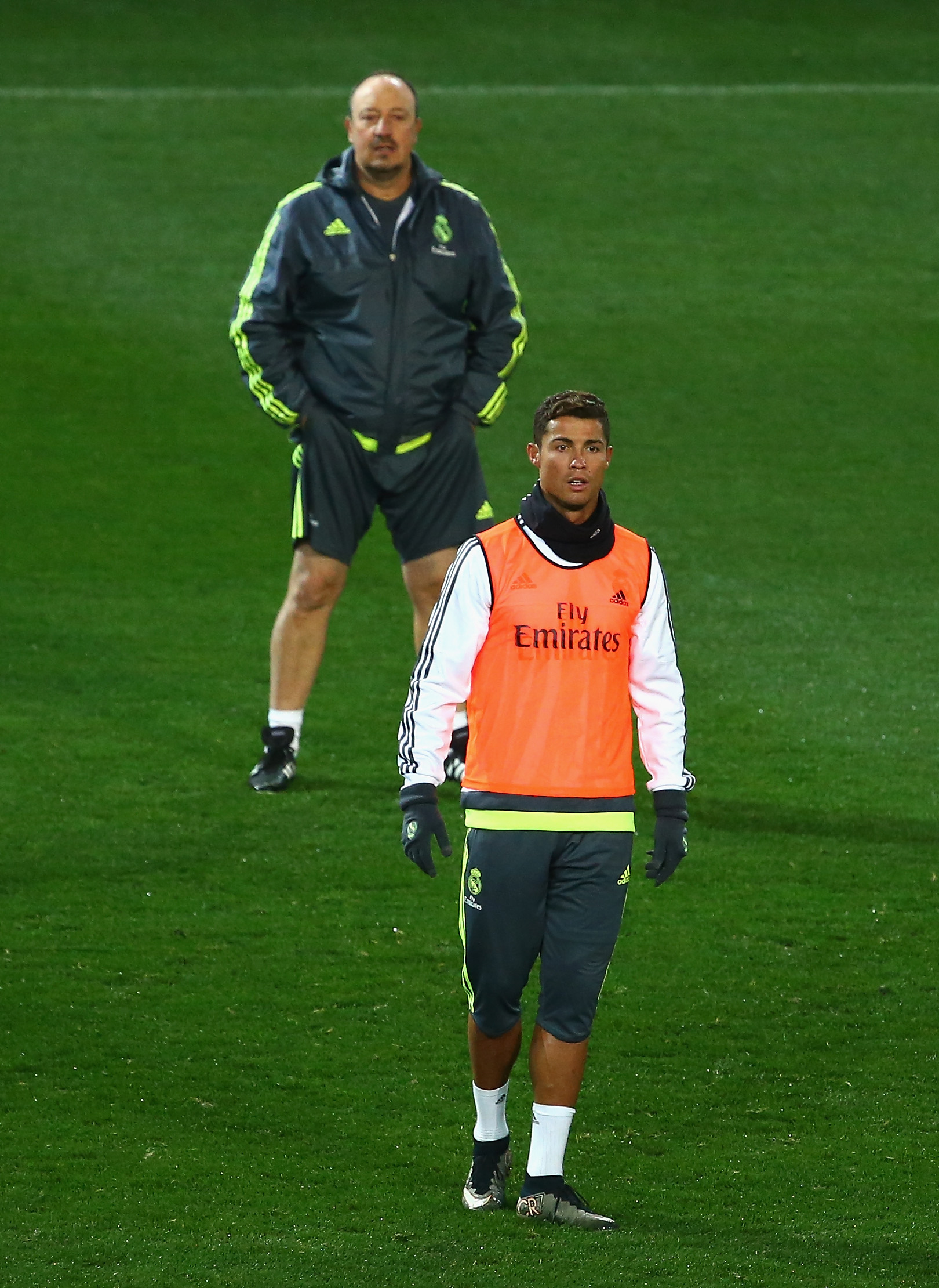 MELBOURNE, AUSTRALIA - JULY 15: Cristiano Ronaldo of Real Madrid and head coach Rafael Benitez look on during Real Madrid training session at Melbourne Cricket Ground on July 15, 2015 in Melbourne, Australia. (Photo by Robert Cianflone/Getty Images)