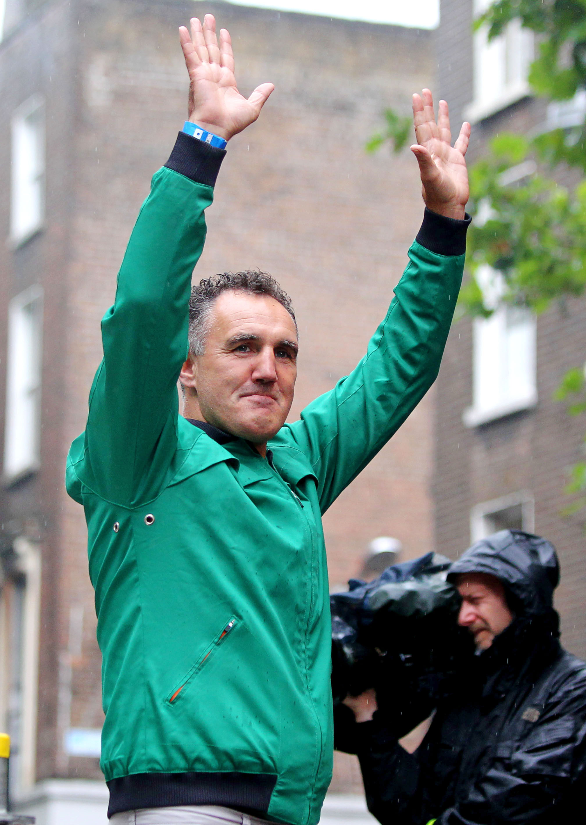 London 2012 Olympic Games, Ireland Olympic Team Celebration 15/8/2012 Team Ireland boxing head coach Billy Walsh arrives on stage Mandatory Credit ©INPHO/James Crombie