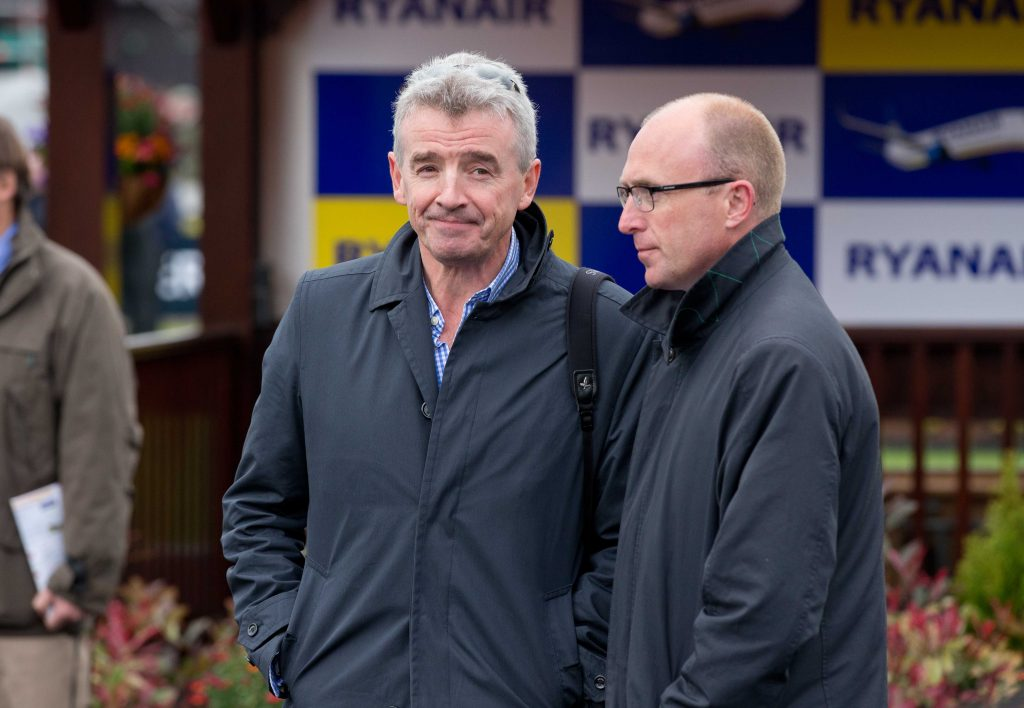 2014 Punchestown Festival 1/5/2014 Michael O'Leary and Punchestown Racing manager Richie Galway Mandatory Credit ©INPHO/Morgan Treacy