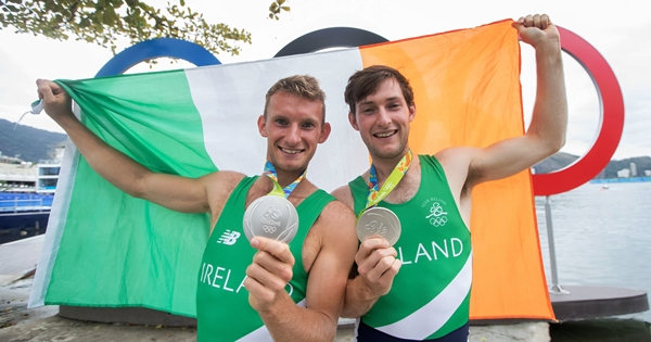 Paul and Gary O'Donovan celebrate winning a silver medal 12/8/2016