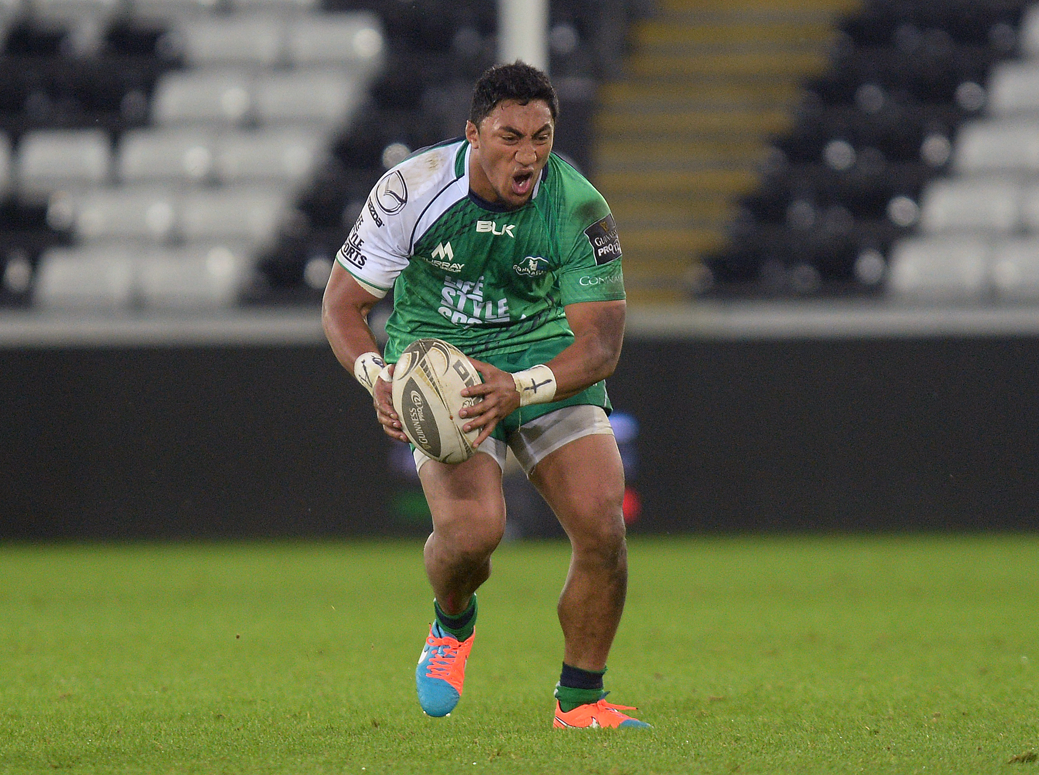 Guinness PRO12 31/10/2014 Ospreys vs Connacht Connacht's Bundee Aki goes down in pain after injuring his knee earlier in the game Mandatory Credit ©INPHO/Ian Cook