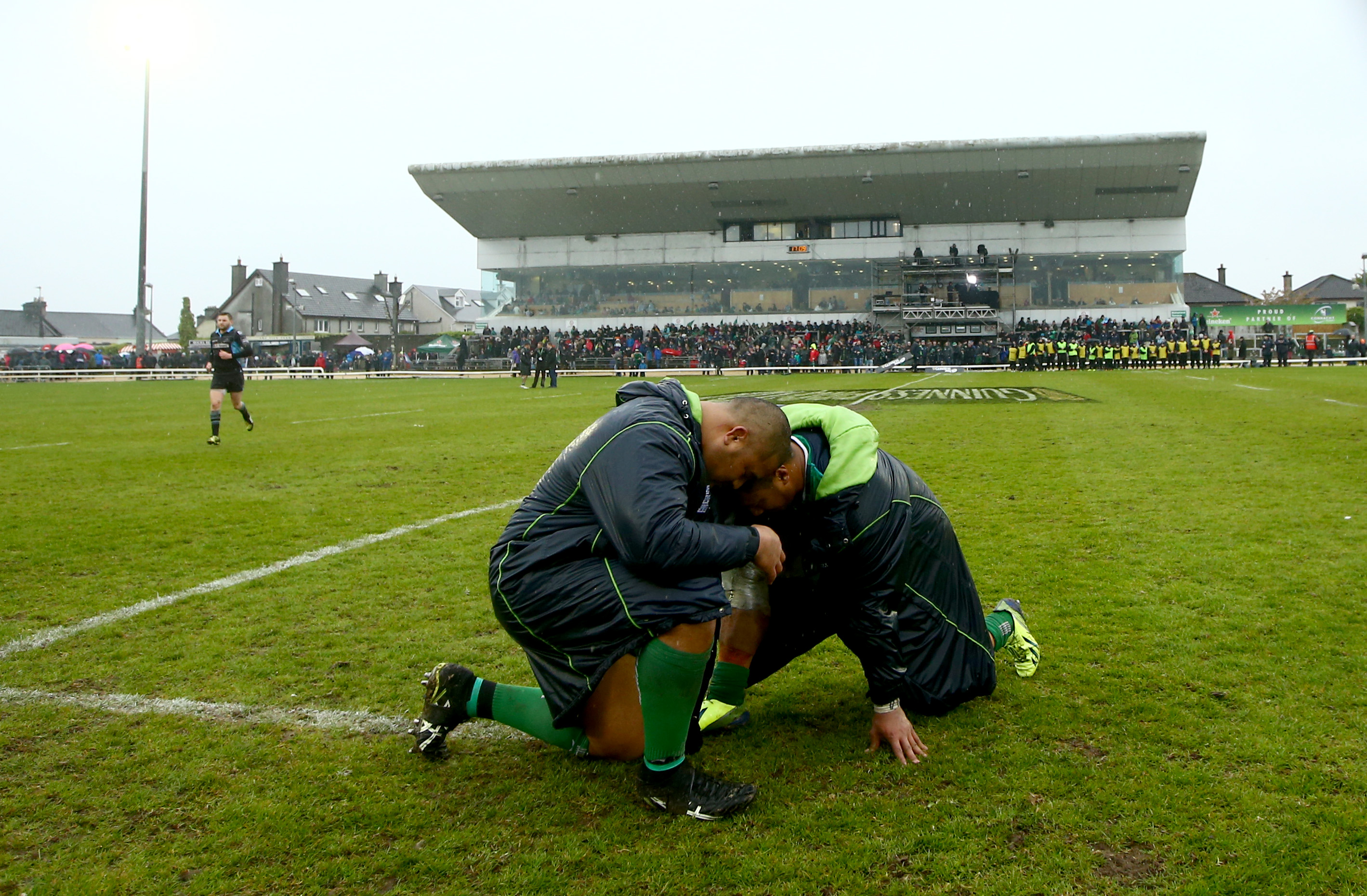 Guinness PRO12, Sportsground, Galway 7/5/2016 Connacht vs Glasgow Warriors Connacht's Rodney Ah You and Bundee Aki at the final whistle Mandatory Credit ©INPHO/James Crombie