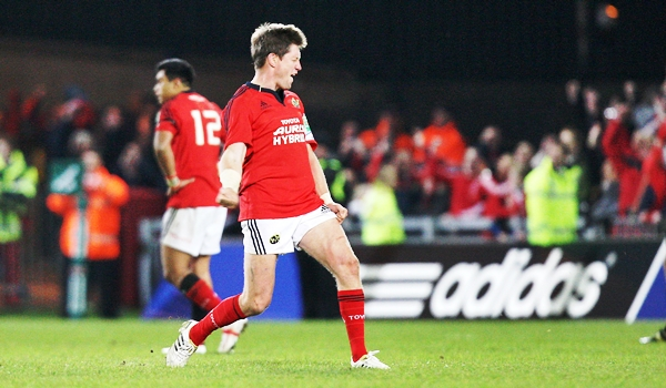 Ronan O'Gara celebrates after scoring a drop goal after 41 phases to win the game 12/11/2011