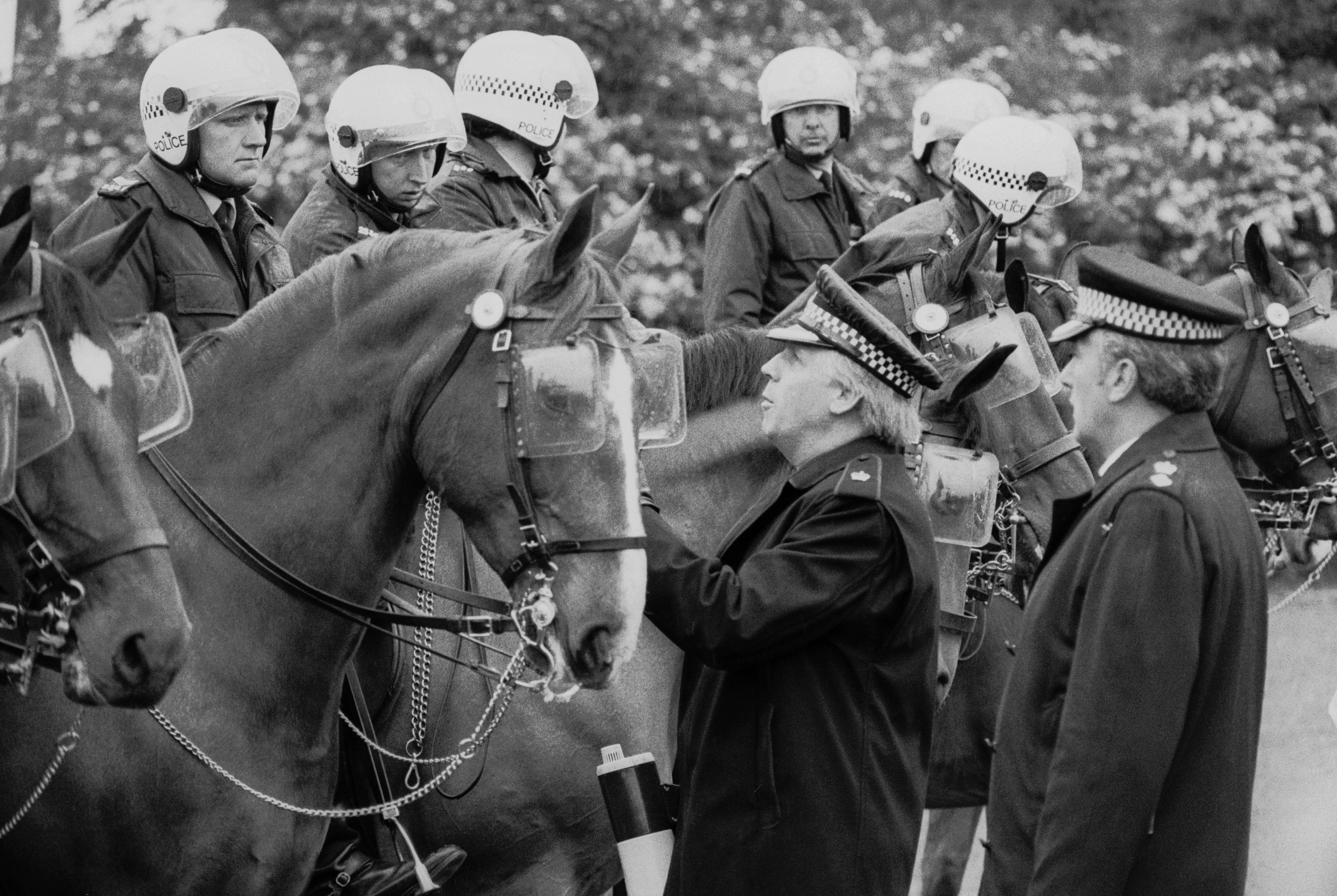 Mounted police receive instructions at a demonstration at Orgreave Colliery, South Yorkshire, during the miners' strike, 2nd June 1984. (Photo by Steve Eason/Hulton Archive/Getty Images)