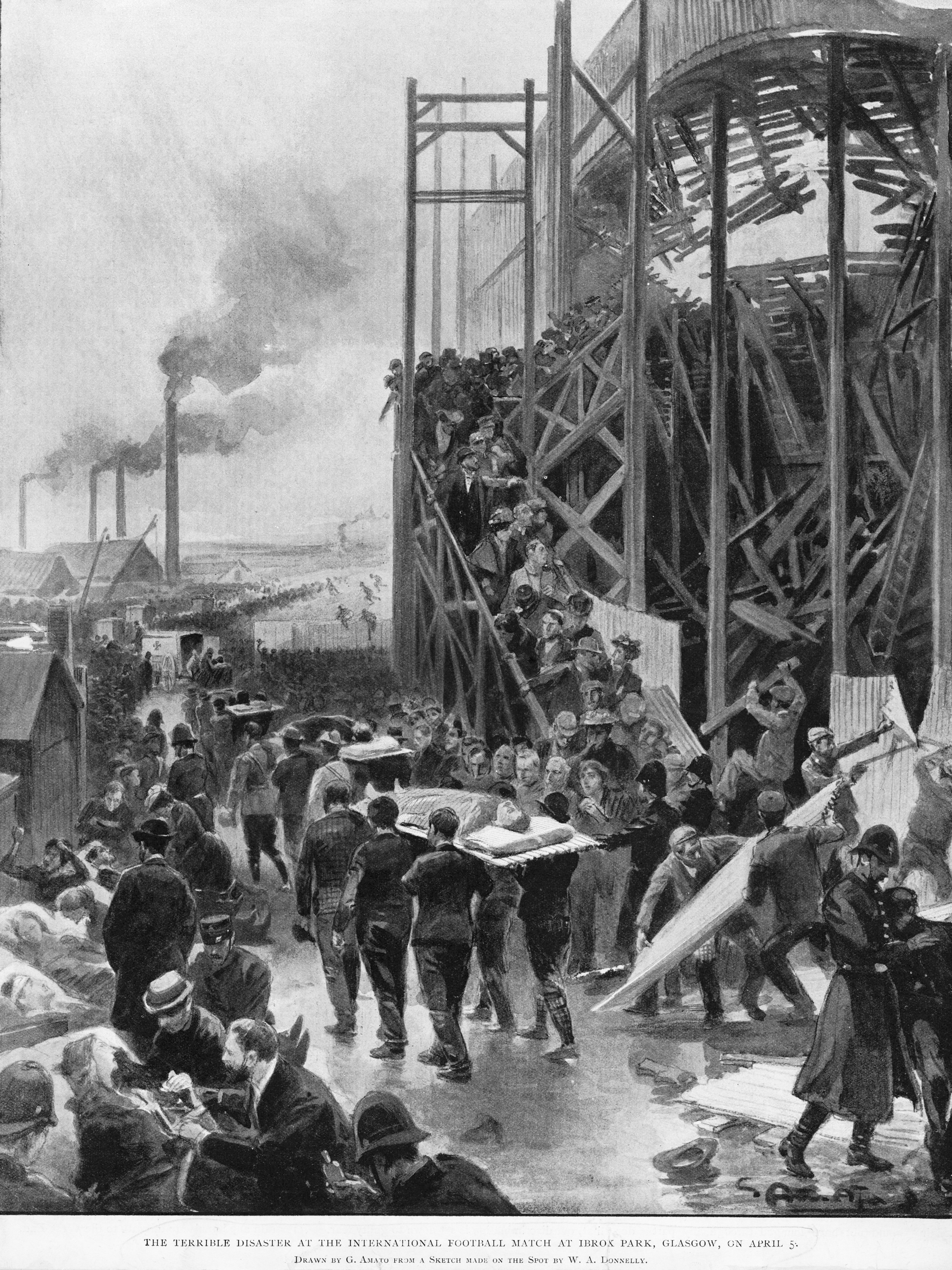 5th April 1902: Victims are stretchered away from the accident scene after a section of the terracing at Ibrox Park football ground in Glasgow collapsed during a Scotland vs England international fixture. Twenty five people were killed and 517 injured. Drawn by G Amoto from W A Donnelly (Photo by HultonArchive/Illustrated London News/Getty Images)