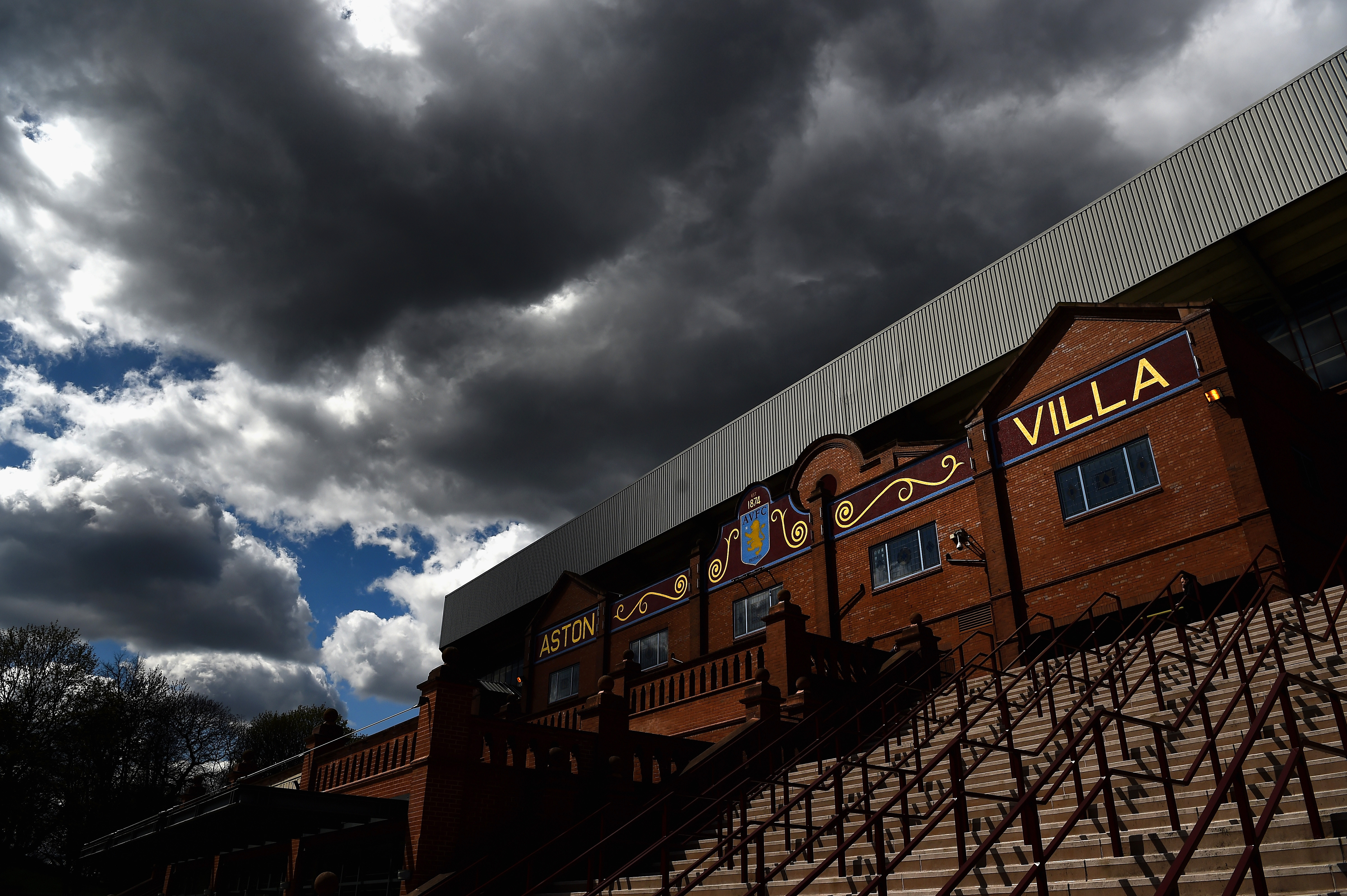 BIRMINGHAM, ENGLAND - APRIL 23: A general view of cloudy skies over the stadium prior to the Barclays Premier League match between Aston Villa and Southampton at Villa Park on April 23, 2016 in Birmingham, United Kingdom. (Photo by Laurence Griffiths/Getty Images)